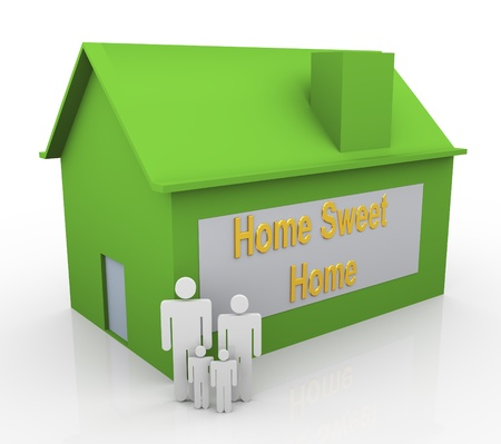 3d happy family and green house with text 'home sweet home Stock Photo - 10402474