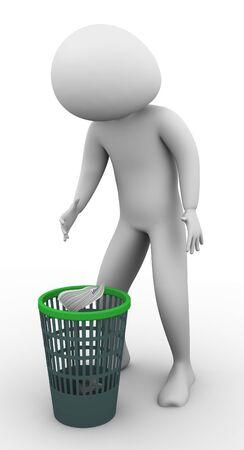 botes de basura: hombre 3D tirar basura en el cesto de residuos Foto de archivo