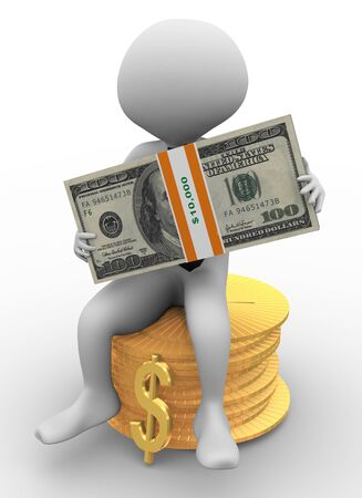 3d business man sitting on stack of coins holding dollar pack in his hand photo