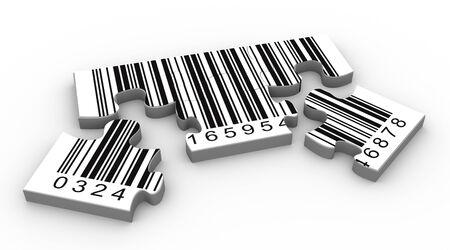 barcode: 3D render van barcode puzzel stukjes