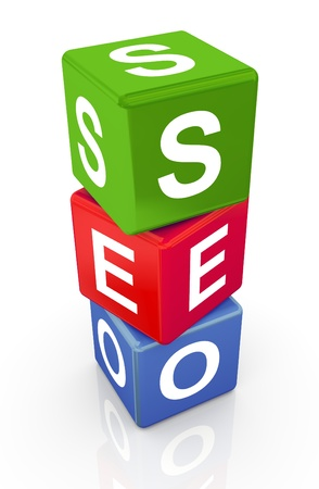 optimization: 3D colorful buzzword series - text seo