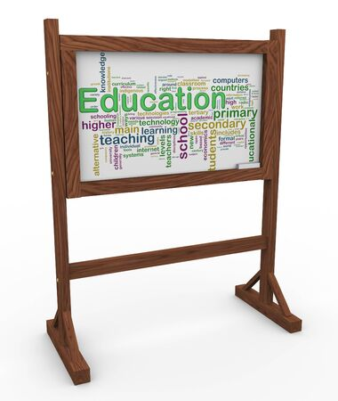 single word: 3d render of chalkboard with the texture of education wordcloud