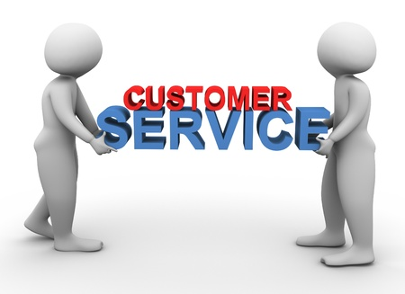 customer services: 3d men holding text customer service Stock Photo
