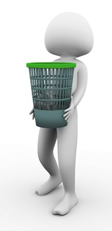 waste basket: 3d man carrying waste basket on the white background
