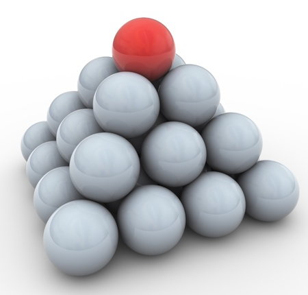 special individual: 3d spheres pyramid. Concept of leadership, teamwork, unique  Stock Photo