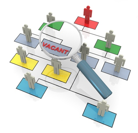 vacant: 3d magnifying glass looking for vacant position in organizational chart