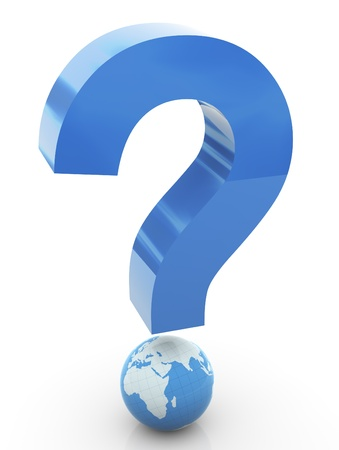 3d question mark with globe Stock Photo - 10402339