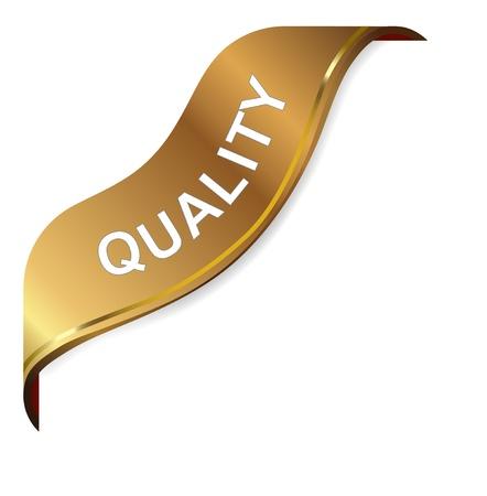 quality control: Illustration of  quality golden corner ribbon