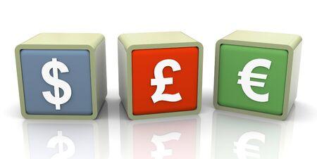 3d colorful buzzword of different currencies symbols photo
