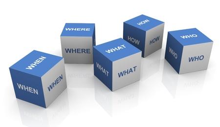 investigaci�n: 3d palabras preguntas cajas en el fondo blanco Foto de archivo