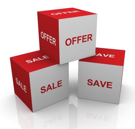 割引: ボックスのテキスト販売の 3 d のレンダリングを提供して保存