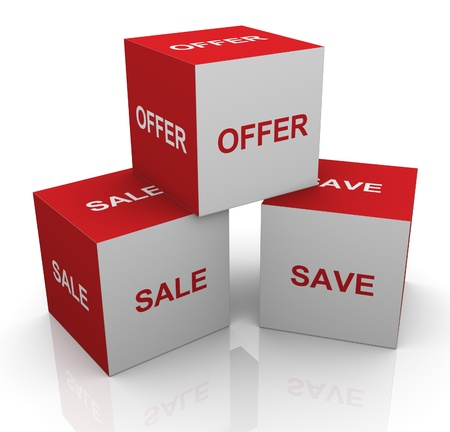 bonus: 3d render of boxes with text sale, offer and save Stock Photo