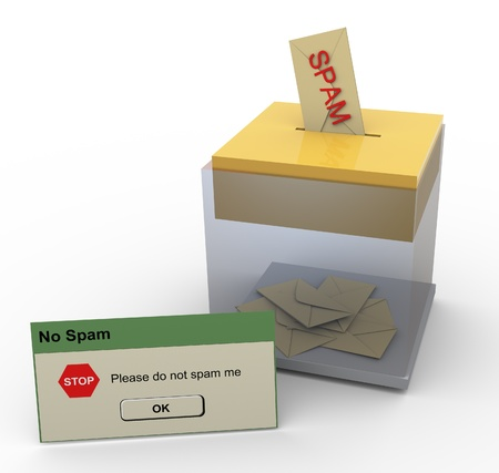 spamming: 3d inbox with incoming spam. Concept of stop spamming. Stock Photo