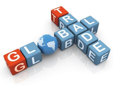global trade: 3d render of global trade crossword