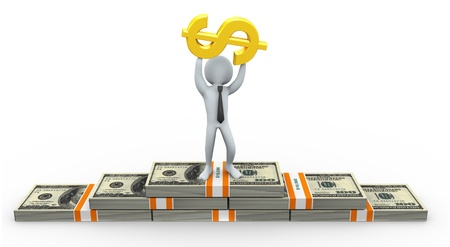 3d business man standing on dollar packs with golden dollar symbol in his hand photo