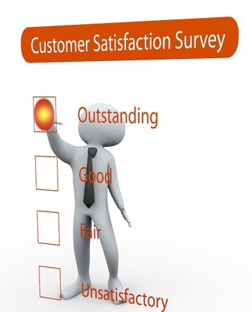 unsatisfied: 3d man rating Questionnaire about the level of satisfaction Stock Photo