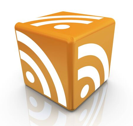 syndication: 3d render of rss symbol cube Stock Photo