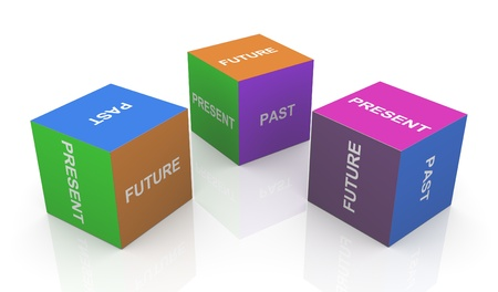 tense: 3d render of present, past and future word cubes