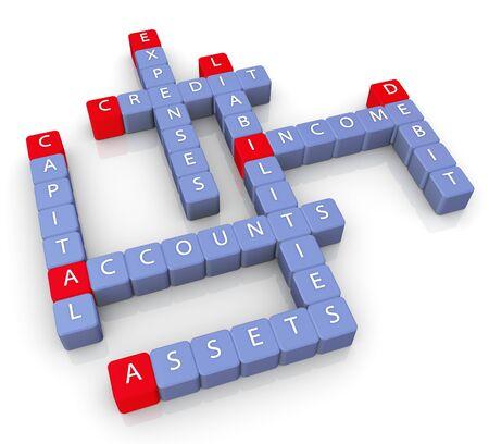 3d render of crossword of accounts concept photo