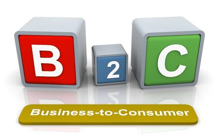 marketing mix: 3d colorful textbox B2C - Business-to-Consumer  Stock Photo
