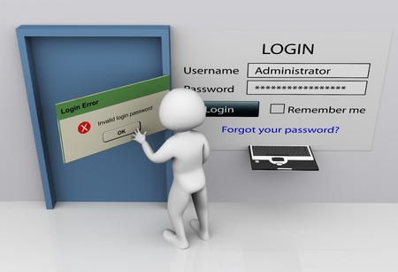administrators: 3d man closing invalid login error messagebox after entering wrong password Stock Photo