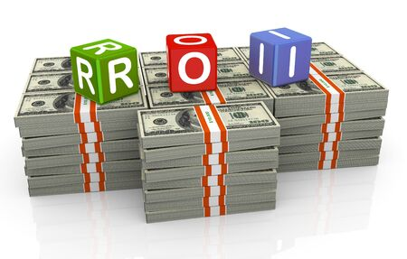 net income: 3d colorful textbox roi - Return on Investment Stock Photo
