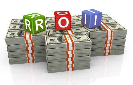 recursos financieros: 3D textbox colorido roi - retorno de la inversión Foto de archivo