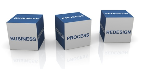 workflow: 3d text cubes of BPR - Business process redesign