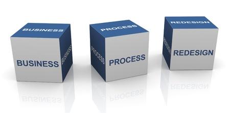 management process: 3d text cubes of BPR - Business process redesign