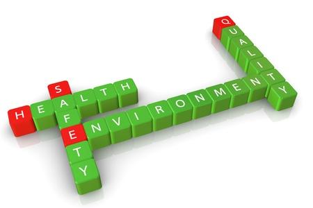 gesundheitsmanagement: 3D-Kreuzwortr�tsel von Sicherheit Gesundheit Umwelt Qualit�t