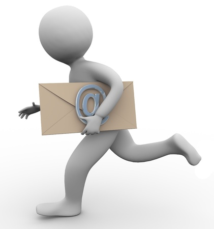 Running 3d man carrying email envelope in his hand photo