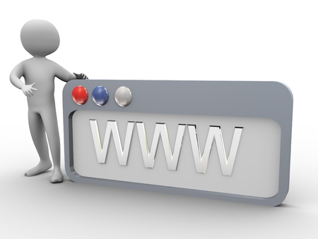 internet search: 3d man pointing to WWW internet browse Stock Photo