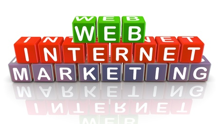 international internet: 3d colorful text cubes of internet web marketing Stock Photo