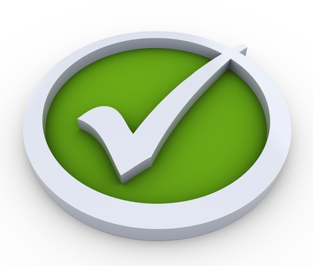 right to vote: 3d render of check mark symbol on white background Stock Photo