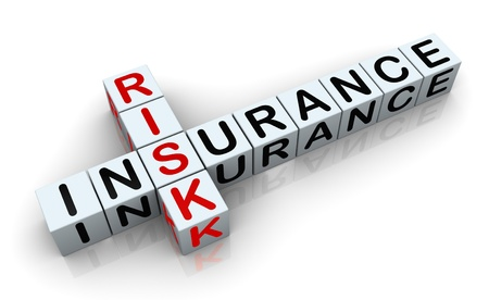 titles: 3d render of crossword text insurance risk Stock Photo