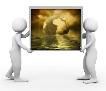 3d men carrying landscape picture frame Stock Photo - 10402570