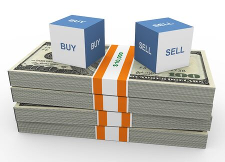 Bid: 3d box of text buy and sell on top of dollars stacks