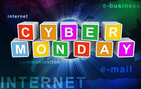 3d colorful buzzword 'cyber monday' on background of abstract internet wallpaper Stock Photo - 10402651