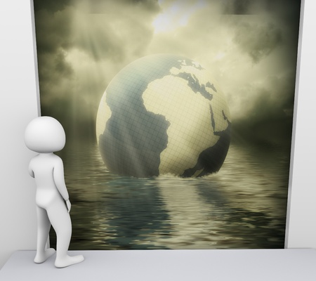 3d render of man looking at scene related to environmental pollutio photo