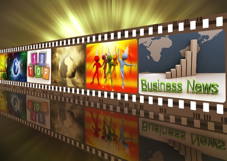 tracks live: Illustration of entertainment movie film strip reel Stock Photo