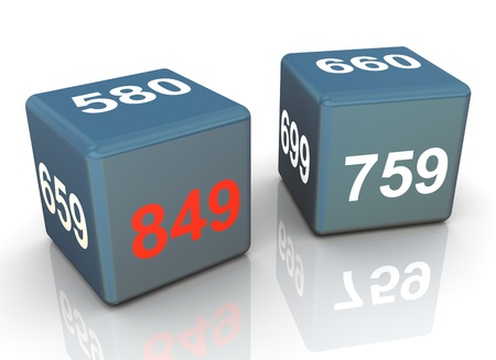3d render of two cubes with credit score. Highest rate score is in red color photo