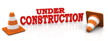 worldwideweb: 3d render of red text under construction Stock Photo