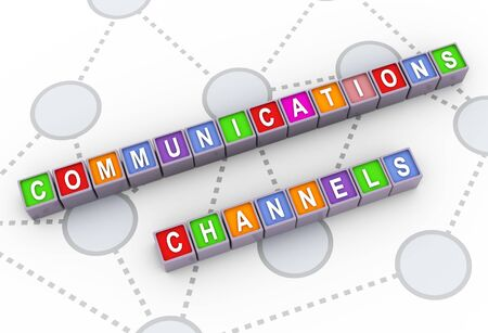 media distribution: 3d colorful buzzword text communication channels