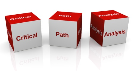 3d text cubes of buzzword cpa - critical path analysis