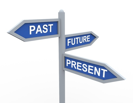 past: 3d road sign of text present, past and future Stock Photo