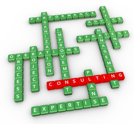 3d render of crossword related to word consulting photo