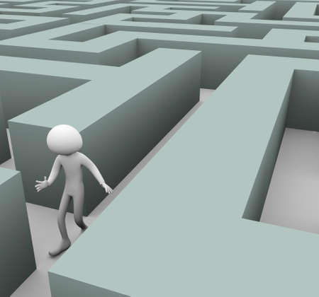3d man finding path through maze photo