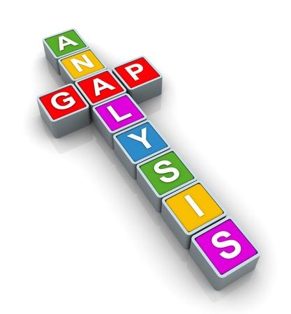 3d text cubes of buzzword gap analysis photo