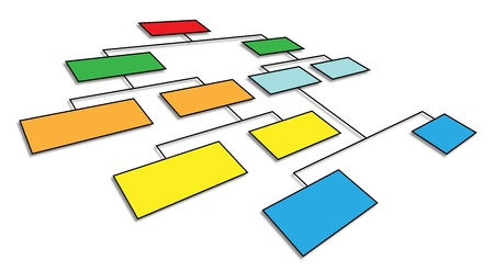 organization design: 3d perspective view of organizational chart Stock Photo