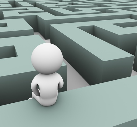 3d man finding path through maze Stock Photo